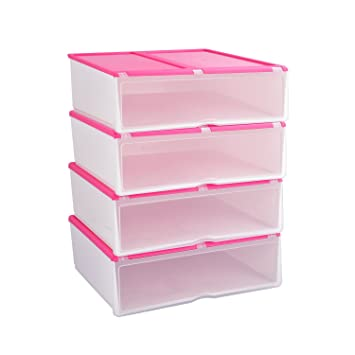 4X Cajas para Zapatos y Botas Cortas Plásticas, Organizadores de Almacenaje Apilables Transparentes, Rosa Pink, Uuhome: Amazon.es: Hogar