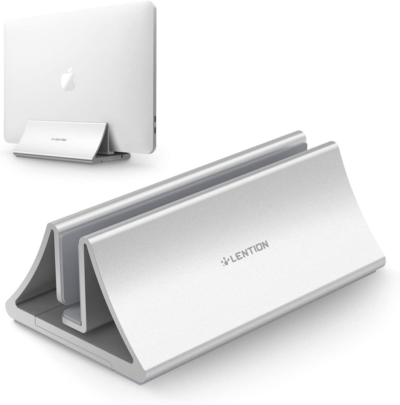 LENTION Aluminum Space-Saving Vertical Desktop Stand Compatible MacBook Air / Pro 13 15, MacBook 12, iPad Pro 12.9, Surface Book, Chromebook and 11 to 17-inch Laptops (Silver)