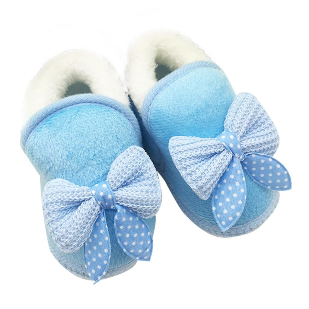Leoy88 Baby Bowknot Shoes Soft Sole Boots Prewalker Warm