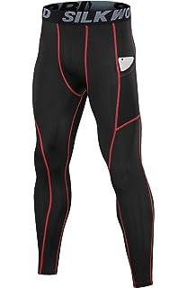 d62a4e2bbd484 SILKWORLD Men's Compression Pants Pockets Cool Dry Sports Leggings  Baselayer Running Tights