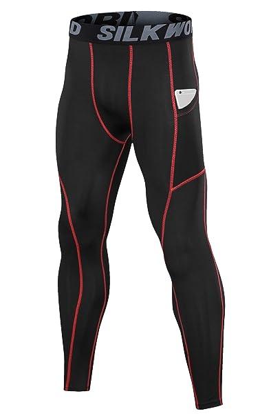 4c7e03c65d6604 SILKWORLD Men's Compression Pants Pockets Cool Dry Sports Leggings  Baselayer Running Tights (SW32#Black