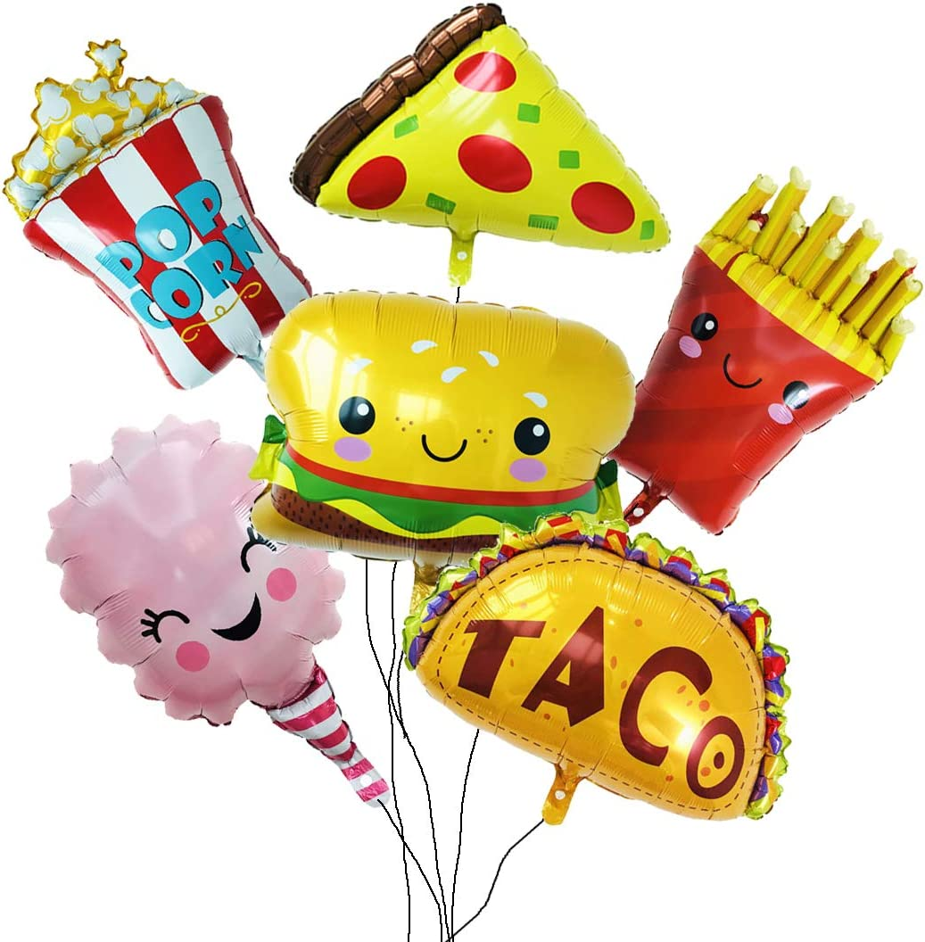 Balloon Set with 6 Large Pieces of Snacks for Party and Shop Decoration.Pizza,Popcorn,Hamburger,Chips,Ice Cream,Taco.Yummy Style for Birthday Party Etc.All in Ánimo Balloon.