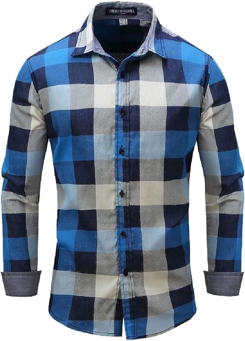 ouxiuli Men Long Sleeve Plaid Shirt Casual Button Down Dress Shirts