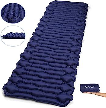 V VONTOX Esterillas Inflables, Tipo Mancuerna Esterillas Inflables Camping (Grande), Adecuada para Acampar, Aalir de Excursión, Alpinismo - Azul