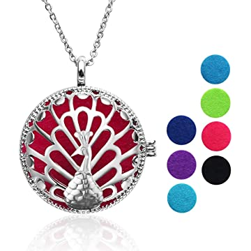 Aromatherapy Necklace, ETEREAUTY Aromatherapy Essential Oil Necklace Locket Pendant with 14 Refill Pads 7 Colours