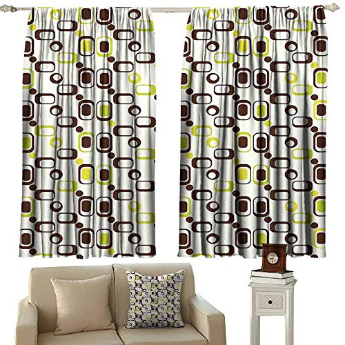 (DUCKIL Sliding Curtains Geometric Geometric Pattern with Rectangle Shapes Vintage Inspired Thermal Insulated Tie Up Curtain W55 xL45 Chestnut Brown Apple Green Cream)