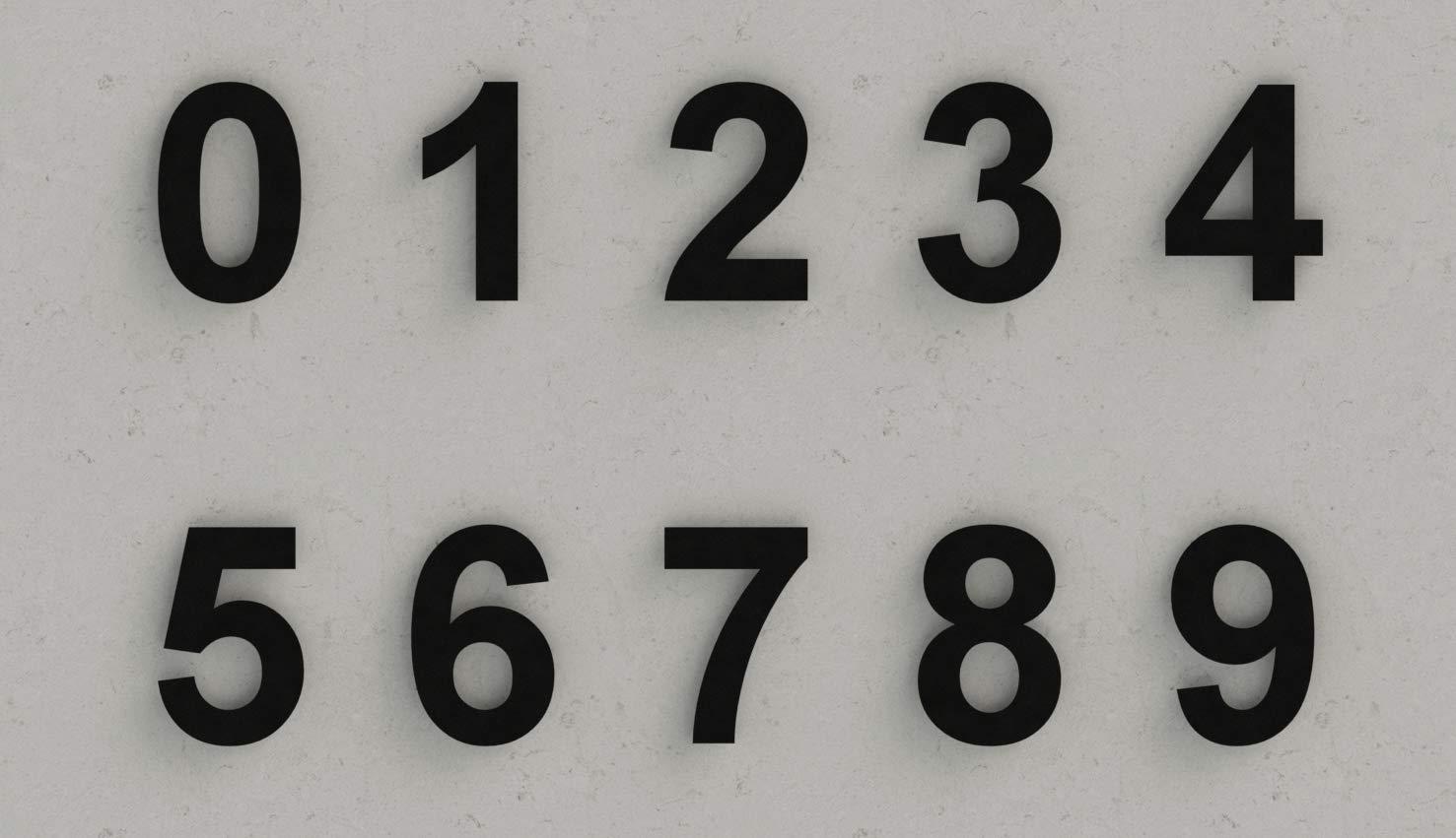 num/éro 6 Six fabriqu/é en acier inoxydable 304 massif enduit de poudre RAL 7016 anthracite noir Num/éro de maison moderne bross/é 152 mm de hauteur