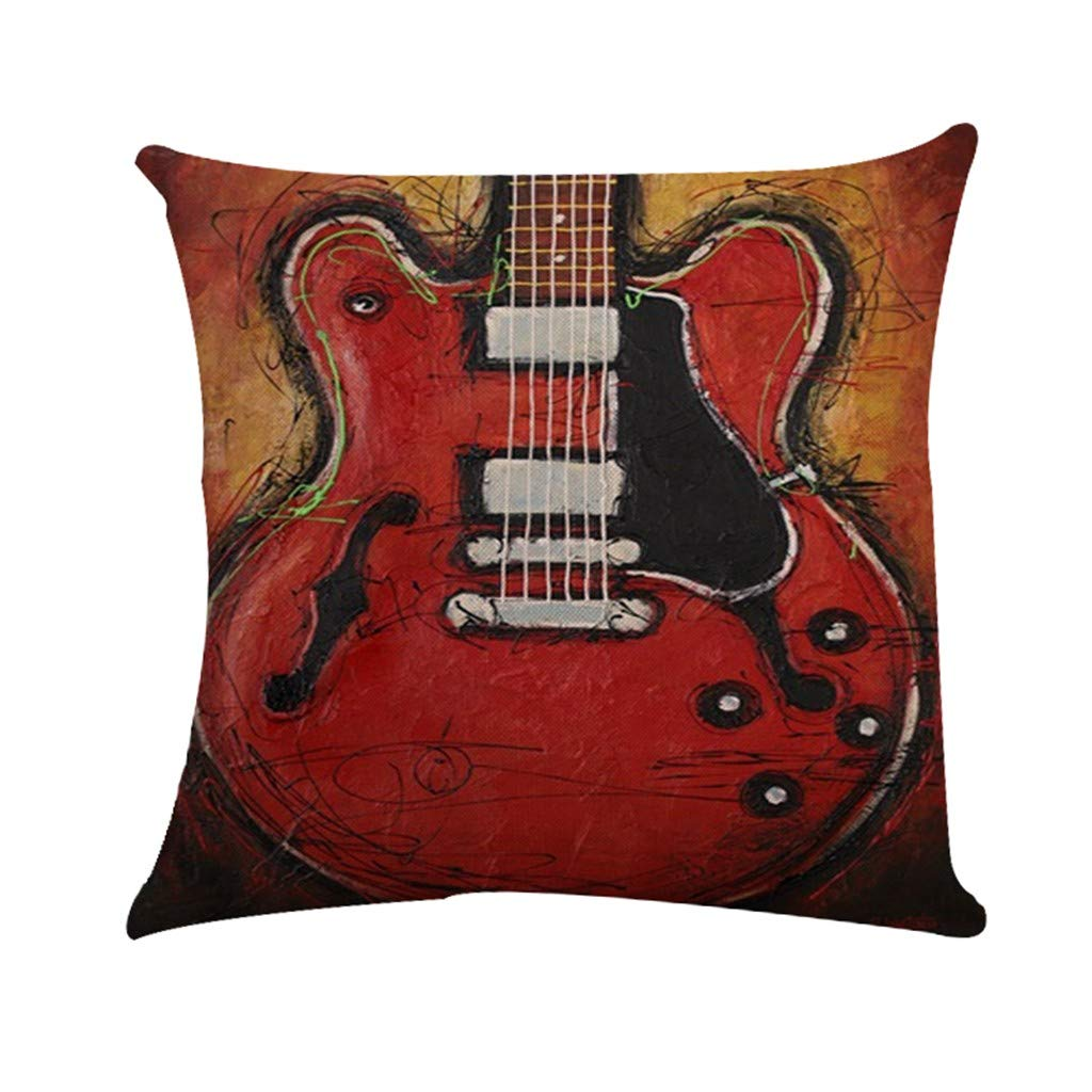 Cyhulu Quote Throw Pillow Cushion Cover, Realistic Instruments Print Square Pillow Case for Home Living Room Bedroom Sofa Art Decoration, Guitar, Saxophone, Piano (D, One size)