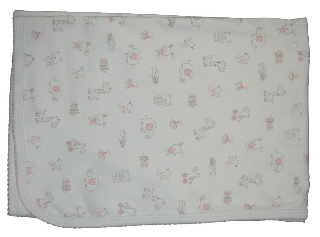 Kissy Kissy Baby-Girls Infant Fun And Games Print Receiving Blanket-White With Pink-One Size