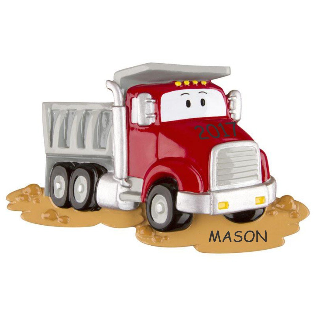 Personalized Truck Kids Christmas Ornament (Dumptruck)