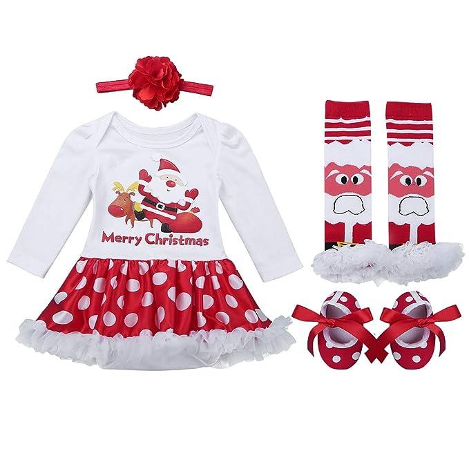 iiniim 4 Pc Conjunto de Navidad para Bebé Niña Recién Nacido ...