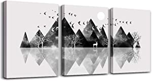 Wall Art for Living Room Canvas Prints Artwork Bathroom Wall Decor Black and White Abstract Mountain Geometric Picture Watercolor Painting 3 Pieces Framed Bedroom Wall Decorations Office Home Decor