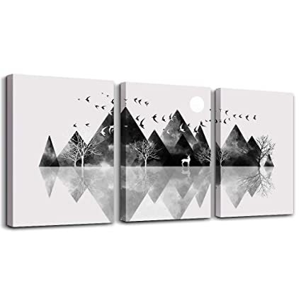 Surprising Wall Art For Living Room Canvas Prints Artwork Bathroom Wall Decor Black And White Abstract Mountain Geometric Picture Watercolor Painting 3 Pieces Download Free Architecture Designs Lukepmadebymaigaardcom