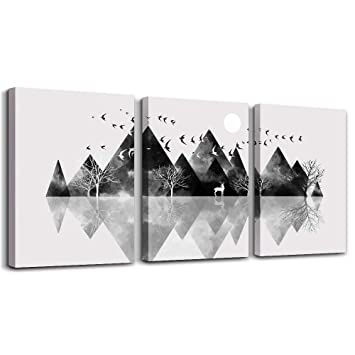 Wall Art For Living Room Canvas Prints Artwork Bathroom Wall Decor Black And White Abstract Mountain Geometric Picture Watercolor Painting 3 Pieces Framed Bedroom Wall Decorations Office Home Decor Amazon In Home