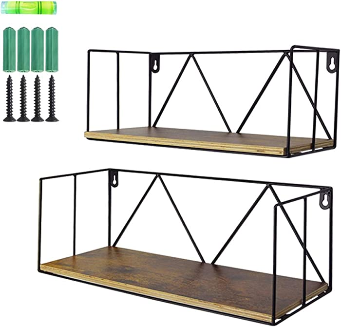 EdenseeLake 2 Pack Floating Shelves Wall Mounted Wood Storage Shelf with Metal Wire for Bedroom, Bathroom, Living Room, Kitchen and Office