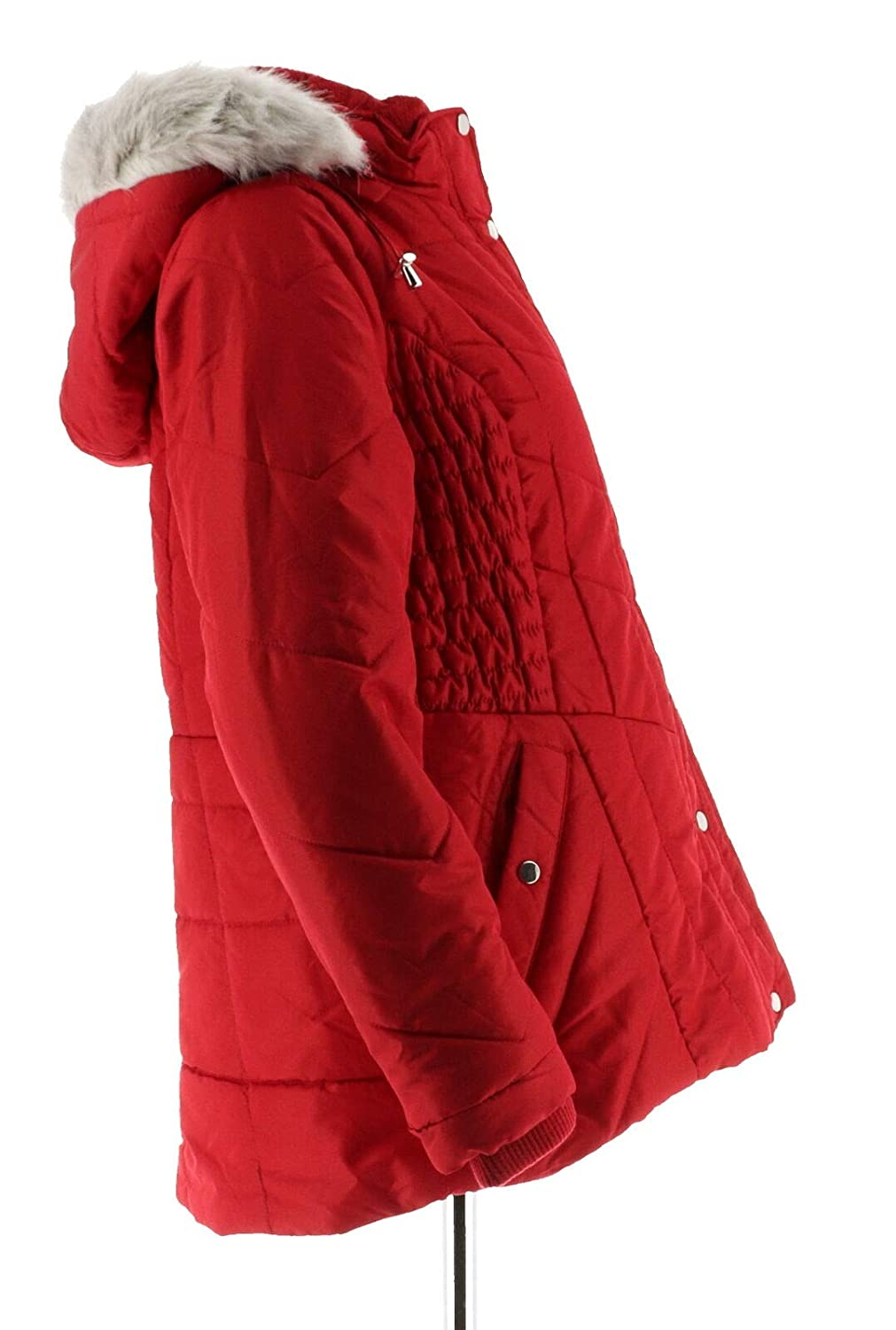 Susan Graver Quilted Jacket Removable Faux Fur Hood Winter White XL NEW A284170