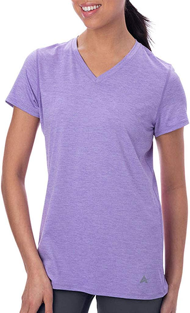 Arctic Cool Women's V-Neck Instant Cooling Moisture Wicking Performance UPF 50+ Short Sleeve Workout Shirt