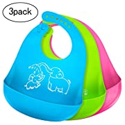 Comcl Baby Bibs for Boys Girls Waterproof Silicone Bib with Pocket Toddler, Set of 3 Colors