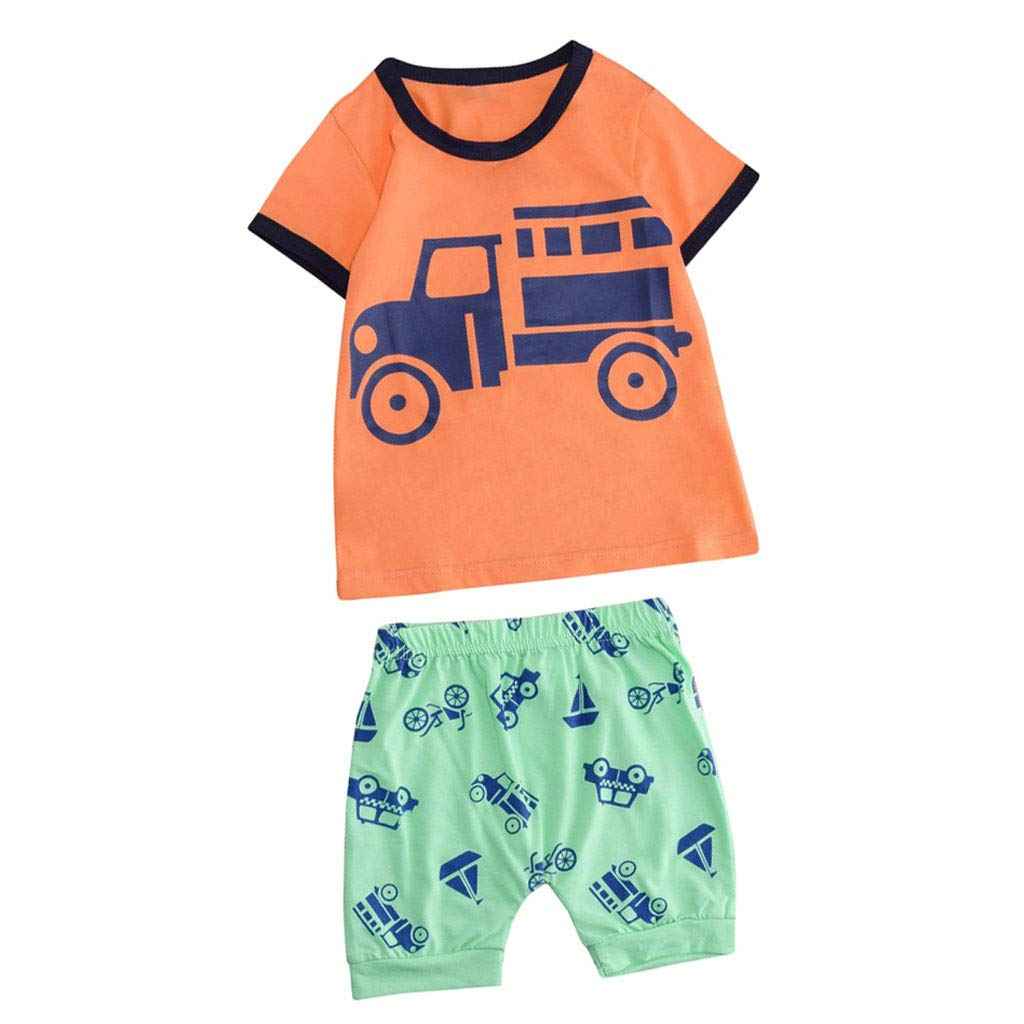 Baby Summer Cartoon Outfit,Jchen Baby Kids Little Boys Girls Cartoon Car Print Short Sleeve Tops+Shorts Outfits for 1-5 Y (Age: 4-5 Years Old, Orange)