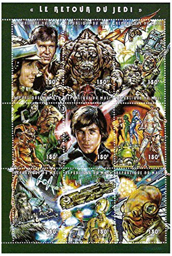 Star Wars stamps - Star Wars Return of the Jedi - 9 stamps. Mint and unmounted stamp sheetlet ()