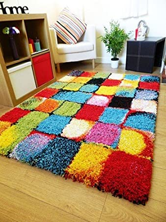 NEW BRIGHT VIBRANT COLOURFUL THICK SHAGGY RUGS FUNKY MODERN RETRO MATS (120  X 170CM)