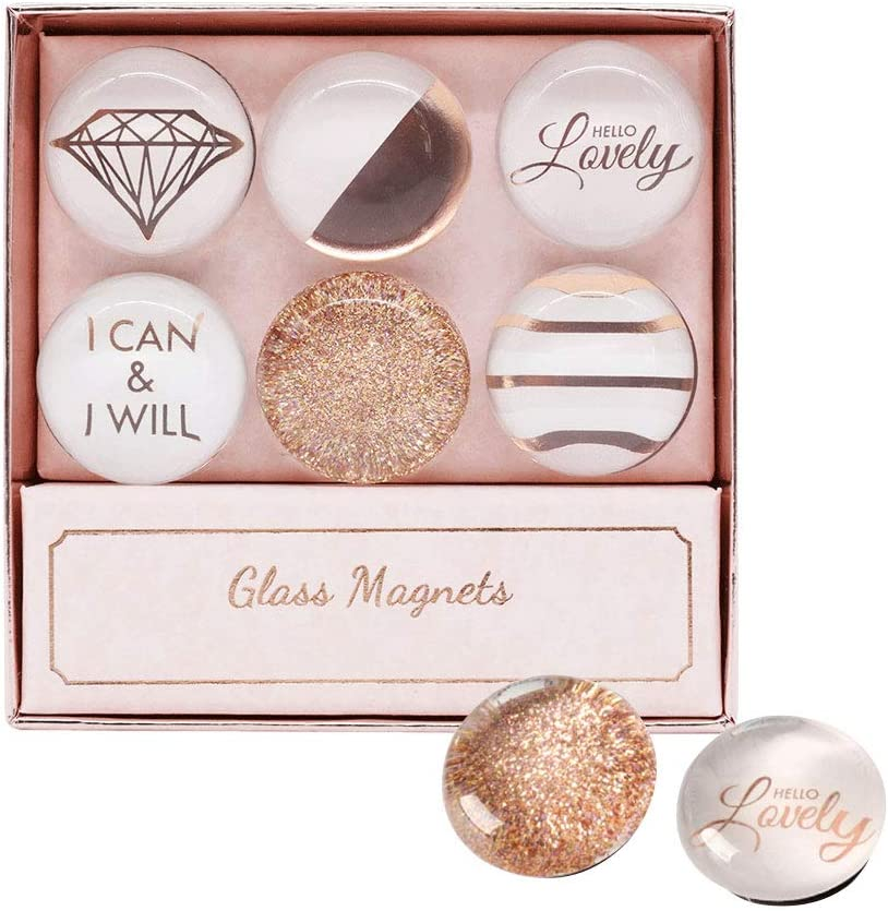 Multibey Decorative Glass Refrigerator Magnet Magnetic Recreator Fridge Magnets for White Board Cabinet Stickers Set Office Kitchen Supplies Christmas Gift,6 PCS Per Set (Rose Gold)