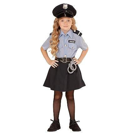 Amakando Niña Agente policial Disfraz Infantil de policía XS ...