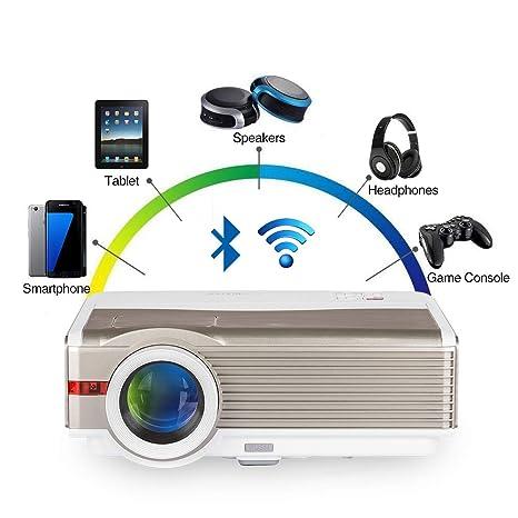 EUG Proyector inalámbrico Android LED de cine en casa con alto brillo 5000 lúmenes y LCD 1080P para iPhone iPad PC Portátil Xbox TV DVD Películas
