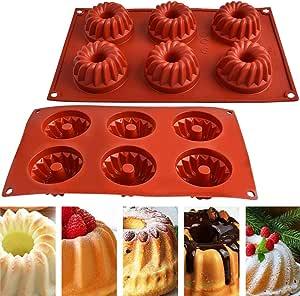 Oferta amazon: Molde de Silicona, NALCY Molde de Pastel 6 cavidades Espiral patrón Taza Molde de Galleta DIY Molde de Donut de microondas de Alta Temperatura, 2 Piezas