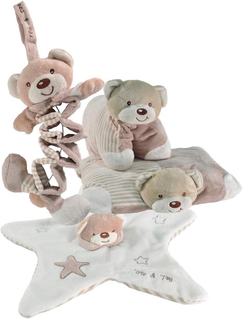 Tris & Ton Pack regalo recién nacido musical acordeon peluche portachupetes cojín guardería cesta original niño niña (tridyton) (beige)