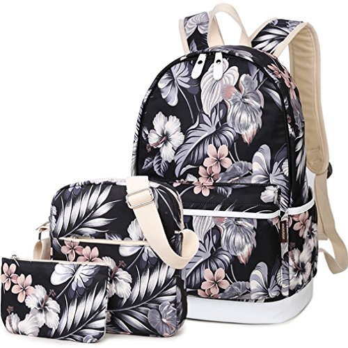 HeyYoo Fashion High Capacity Canvas School Backpack Set Cute Laptop School Bag for Teen Girls (Black)