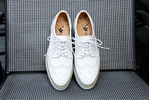 BININBOX Womens Fashion Hollow Out Lace-up Mid-Heel Platform Shoes White EMG4GllK6K