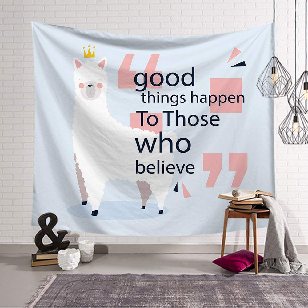 Boyouth Llama Tapestry Wall Hanging,Cartoon Alpaca Black Words and Pink Symbol Pattern Digital Print Art Wall Tapestry for Living Room Bedroom Dorm Decor,78.7 Inch by 59.1 Inch
