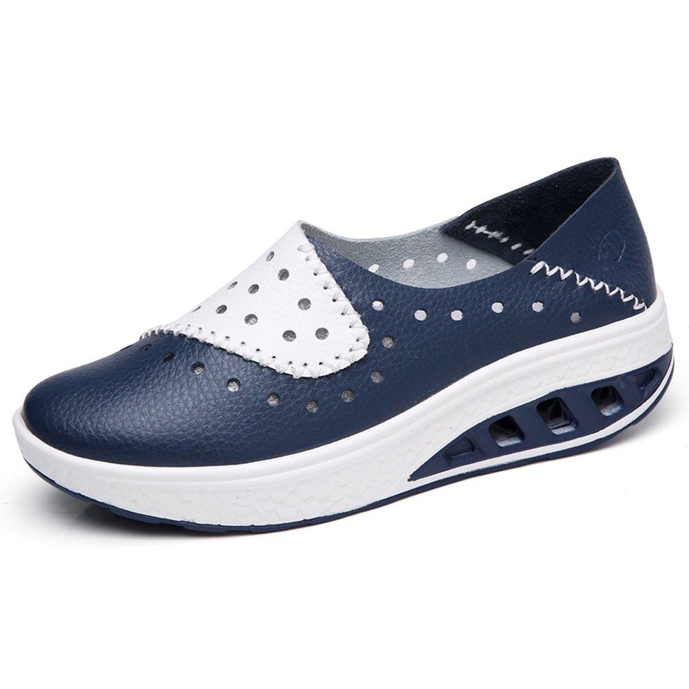 STQ-SZ7687lanse38 Women Platform Sneakers Comfort Wedges Loafers Ladies Summer Slip On Cutouts Leather Moccasins Work Walking Shoes Blue 7 B(M) US