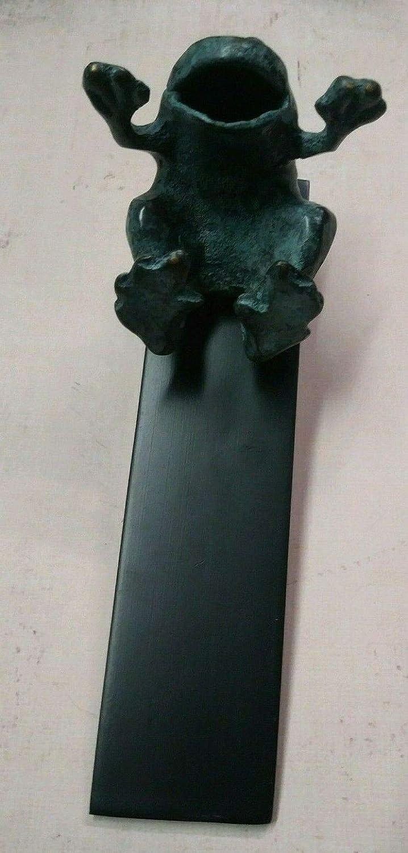 SPI Home Verdigris Bronze Laughing Frog Door Stop Doorstop Wedge Brass Wood