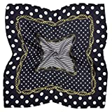 Black White Gold Spotted Printed Fine Small Square Silk Scarf