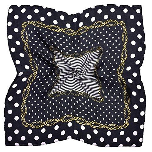 Black White Gold Spotted Printed Fine Small Square Silk Scarf