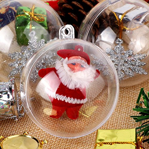 1s Fireplace (OurWarm 20 x Mini 30mm Clear Plastic Ball Fillable Christmas Ornaments Ball for Christmas Drcorations)