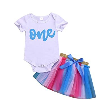 3e8735cd294f Amazon.com  HANANei 2PCS Kids Baby Girl Letter Print Romper Bodysuit+Tutu  Dress Princess Sets Outfits  Clothing