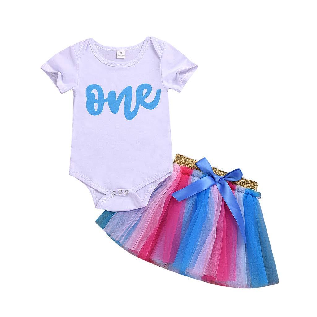 Riverdalin Newborn Baby Girl 1st Birthday Outfit Letter Print Romper Bodysuit Tops+Tutu Skirt Dress Clothes Set White