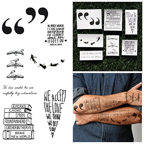 Tattify Literature Temporary Tattoos - Bookworm (Complete Set of 10 Tattoos) - Individual Styles Available - Fashionable Temporary Tattoos ()