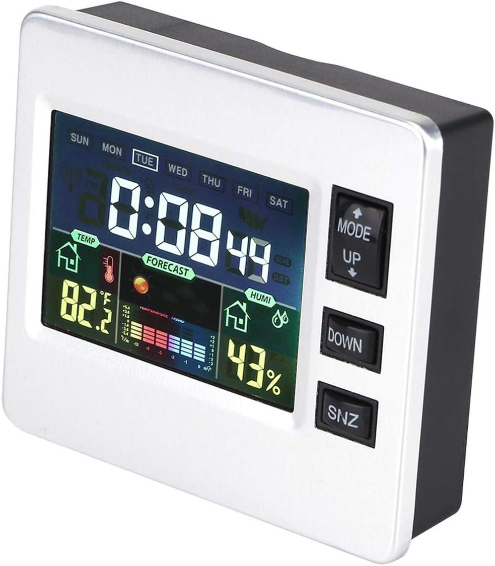 DERCLIVE Voice Activated Alarm Clock Weather Forecast Temperature Humidity Display Digital Clock