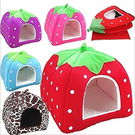 Da.Wa Lovely Strawberry Shape Soft Cashmere Warm Pet Nest Dog Cat Bed Foldable Blue