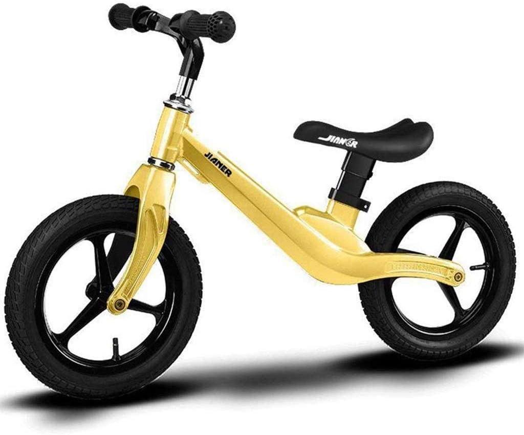 子供2-6歳の男の子マグネシウム合金ペダルフリー、黄色、白と青のために子供をバランス自転車高さ調節のためにバランスのとれた自転車 (Color : 黄) 黄