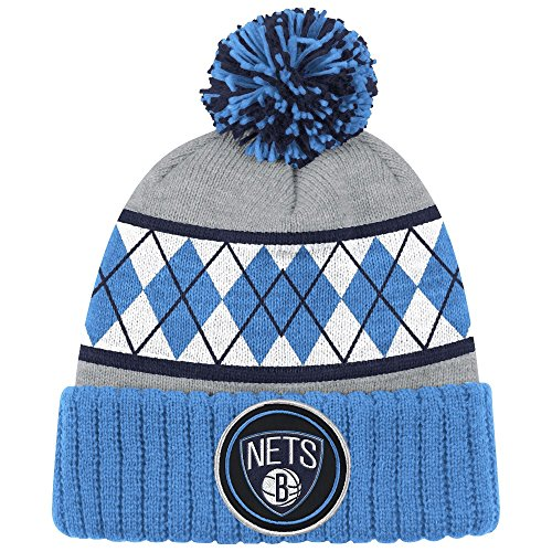 Brooklyn Nets Mitchell & Ness NBA High 5 Cuffed Pom Knit Hat - Blue Argyle