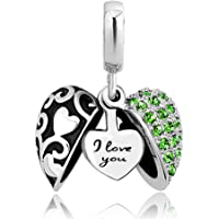 LovelyJewelry Love You Charms Heart Charms Dangle Beads for Bracelets for Girlfriend