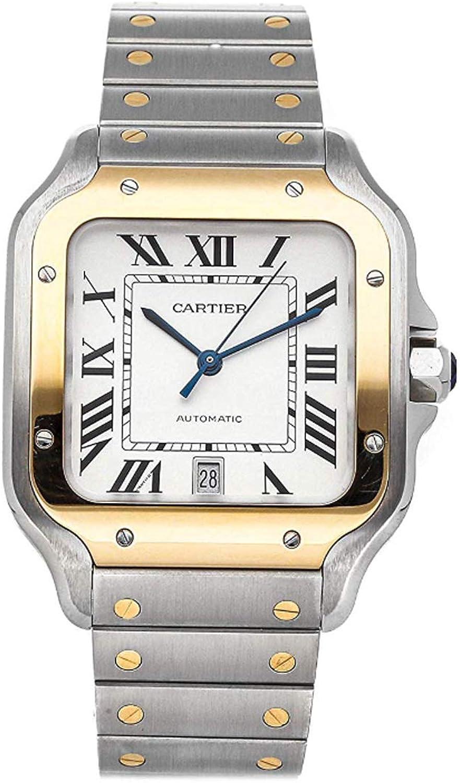 Cartier Santos Reloj automático plateado con esfera de acero y oro amarillo de 18 quilates para hombre W2SA0006