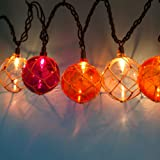 LIDORE Set of 10 New Nautical Fishing Floats Coastal Buoy Beach Style String Lights Set. Warm White Lighting. Orange, Clear and Purple