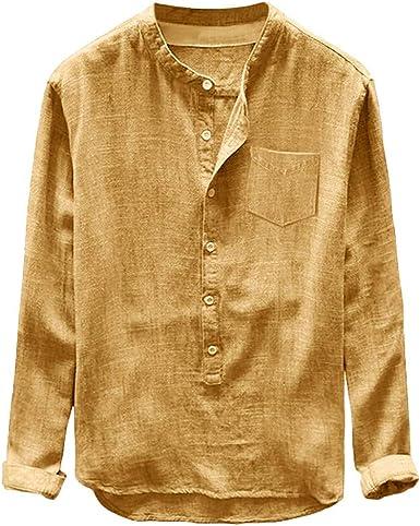 Rabbiter Camisa de Lino y algodón para Hombre Camisa Holgada de Manga Corta con Botones Camisa Casual de Verano y Playa Blusa Tops: Amazon.es: Ropa y accesorios