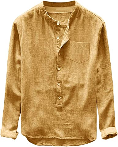 CAOQAO- Camisa de los Hombres Moda Hombre otoño Invierno botón Casual Lino y algodón de Manga Larga Blusa Superior: Amazon.es: Ropa y accesorios